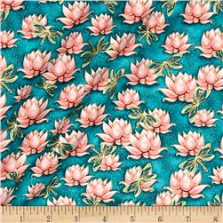Yuna Metallic Waterlilies Medium Teal