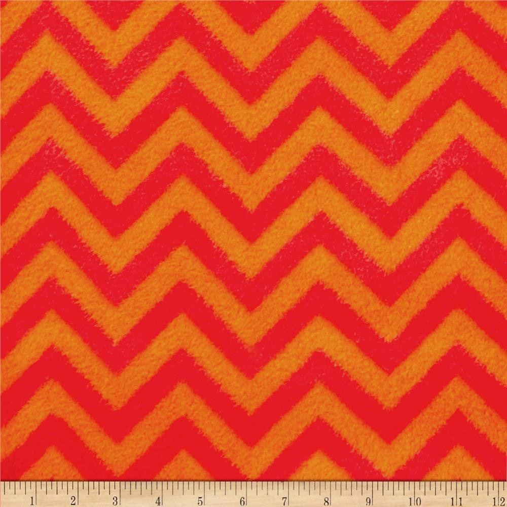 Fleece Chevron Bright Orange/Red