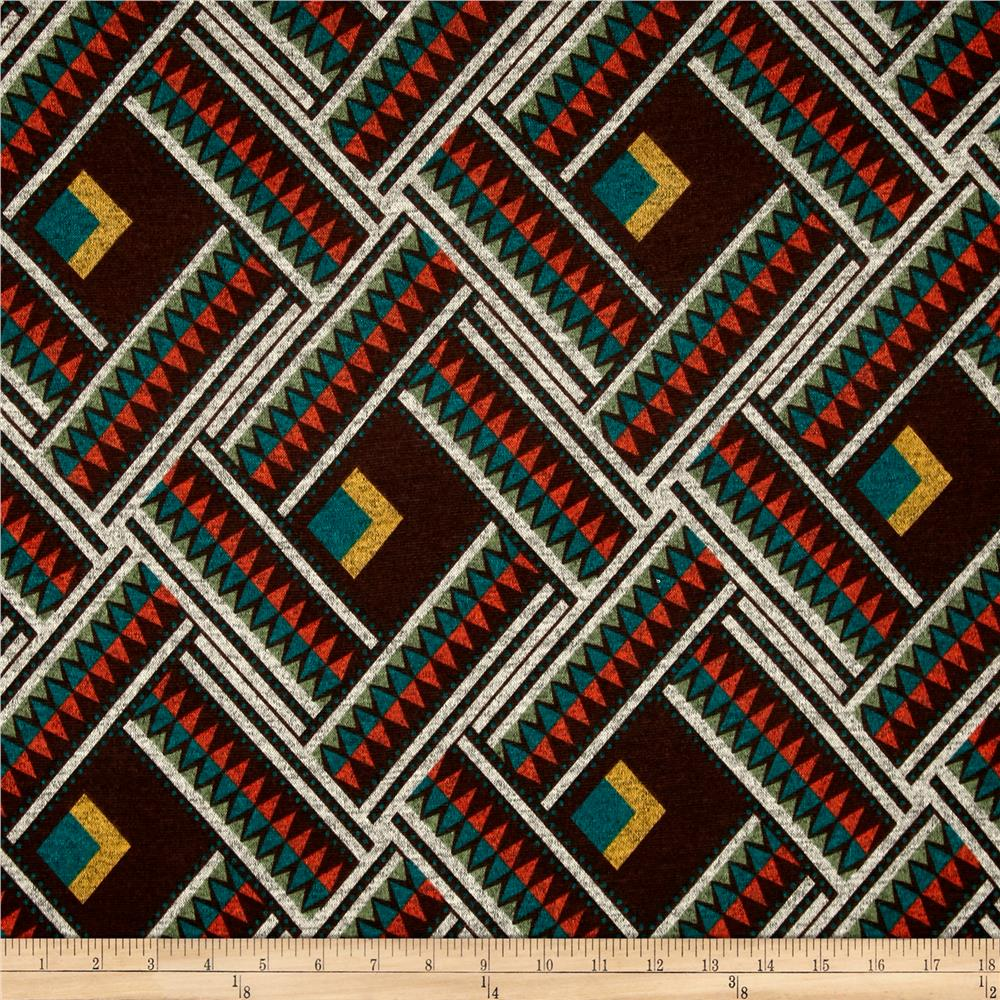 Hatchi Lightweight Sweater Knit Aztec Yellow/Teal Square and Orange Teal Diamonds
