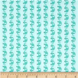 Riley Blake Oh Boy! Flannel Elephants Aqua