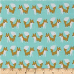 Cloud 9 Organic Fanfare Flannel Foxes Blue