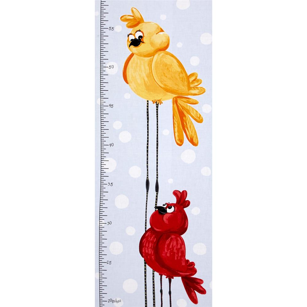 Susybee Bird Growth Chart 15 In. Panel Blue Fabric By The Yard