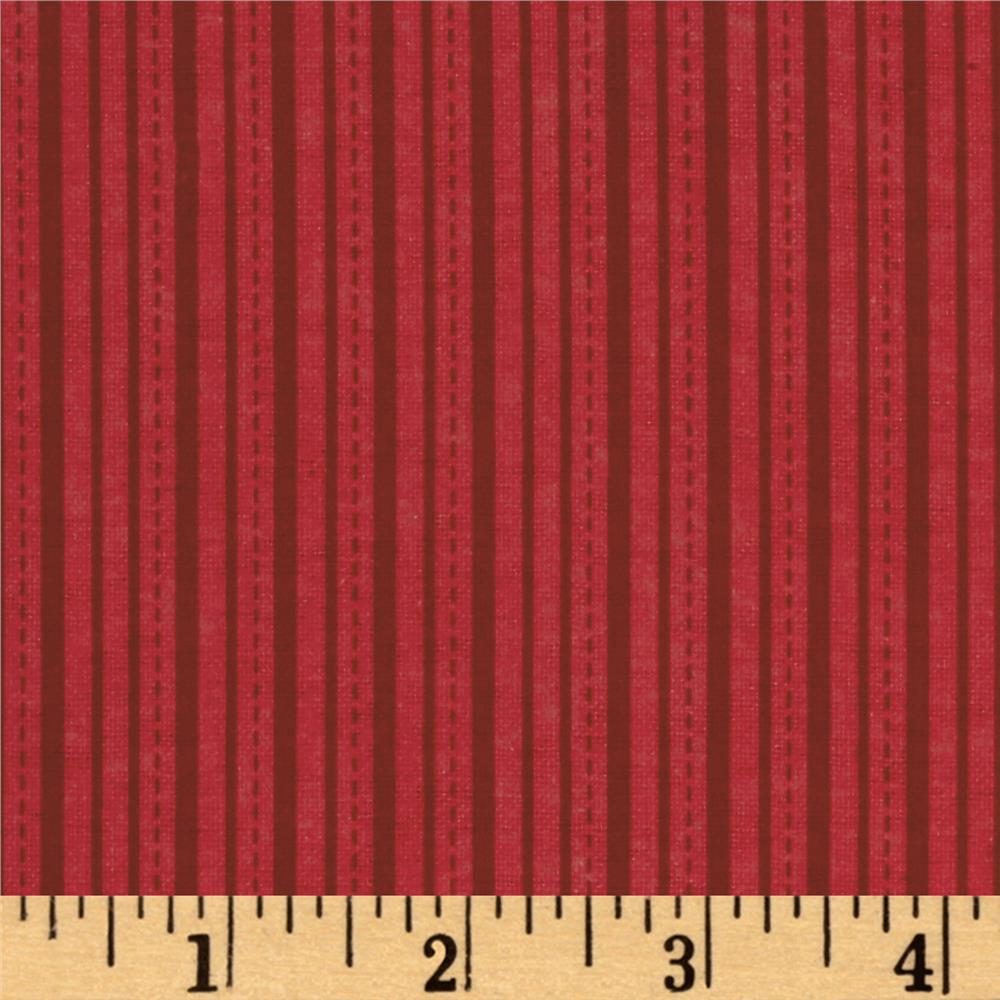 Alpine Flannel Stripe Red Fabric By The Yard