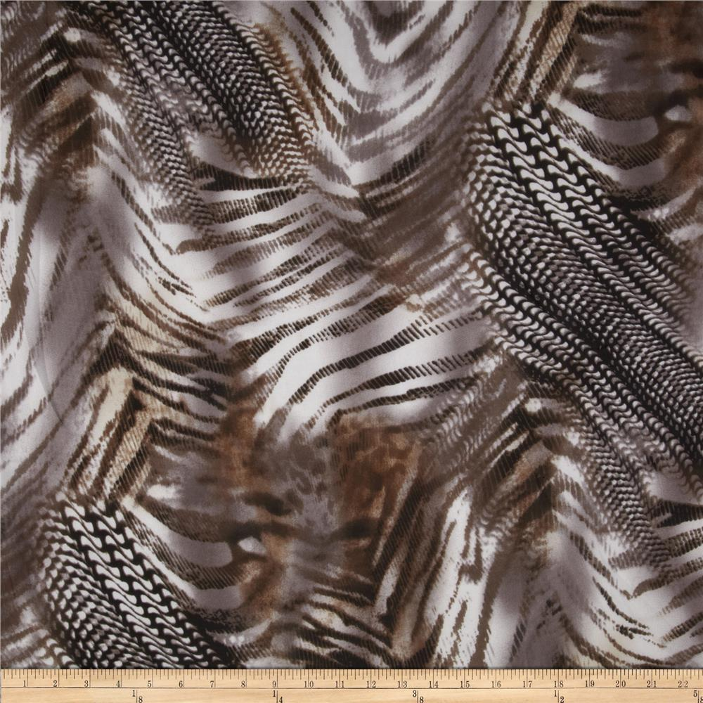 Silky Chiffon Abstract Zebra Brown