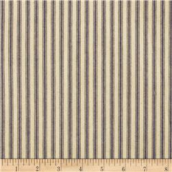 44'' Ticking Stripe Navy Blue Fabric