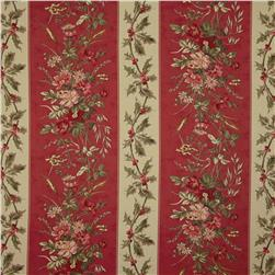Moda Wintergreen Winter Garden Stripe Crimson