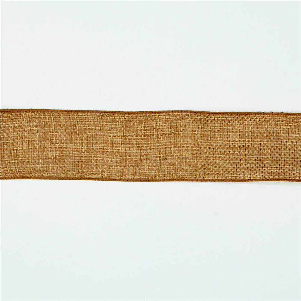 "1 1/2"" Faux Burlap Wired Ribbon Antique Gold"