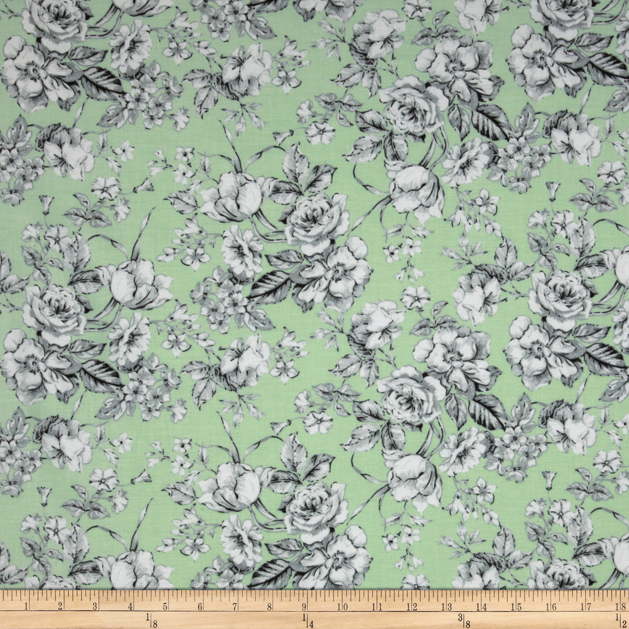 Spring Fling Large Floral Mint/Grey