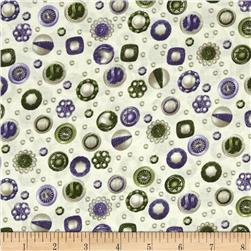 Fresh Lilacs Buttons Lavender/Green/Cream