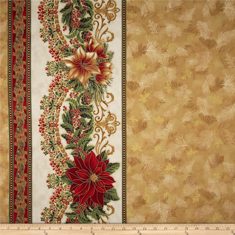"Holiday Flourish Metallic 60"" Wide Double Border Antique Gold"