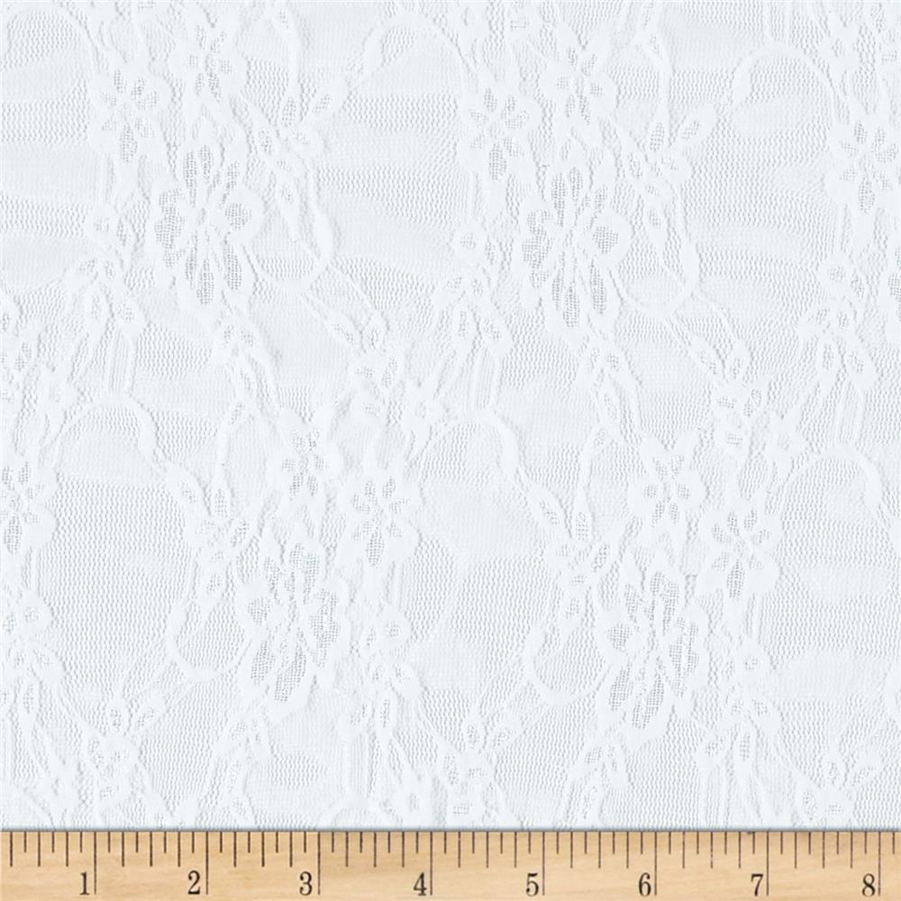 Giselle Stretch Floral Lace White - Discount Designer Fabric ...