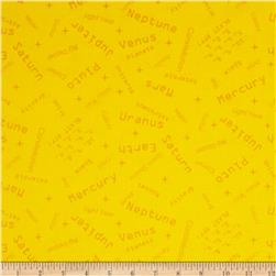 Space Age Words Yellow Fabric