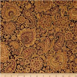 Talia Metallic Paisley Cinnabar/Gold Fabric