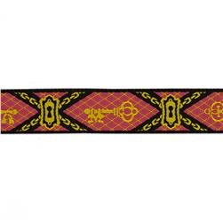 7/8'' Jacquard Keys Ribbon Pink/Gold