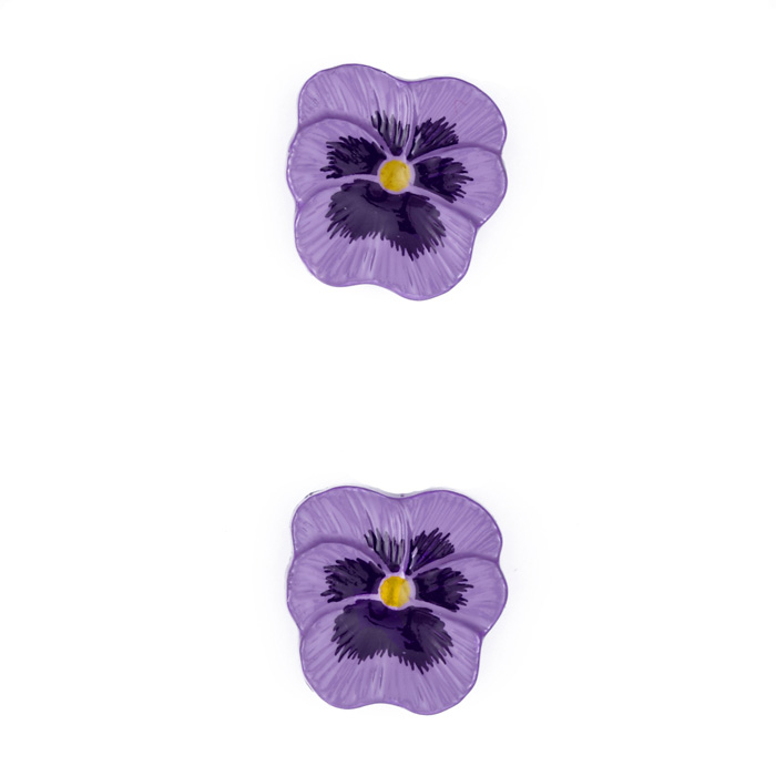 Novelty Button 3/4'' Pansy Flower Purple