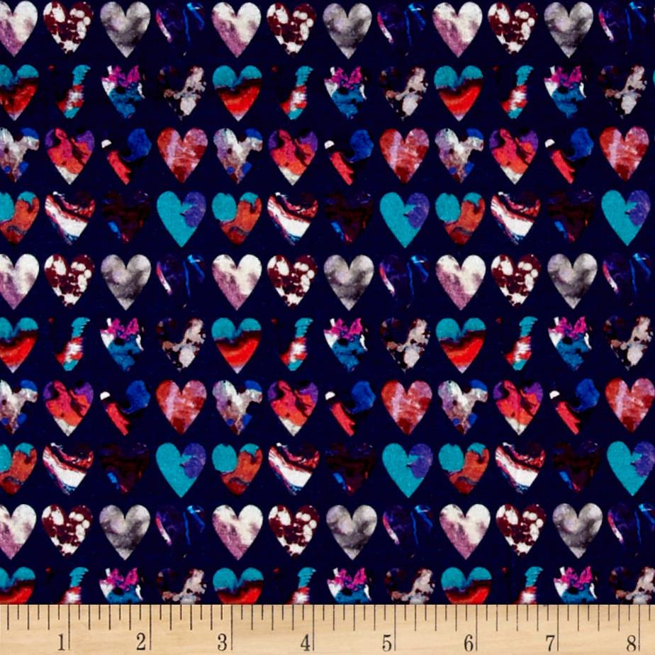 Liberty of London Dufour Jersey Knit Marble Hearts Saphire Blue