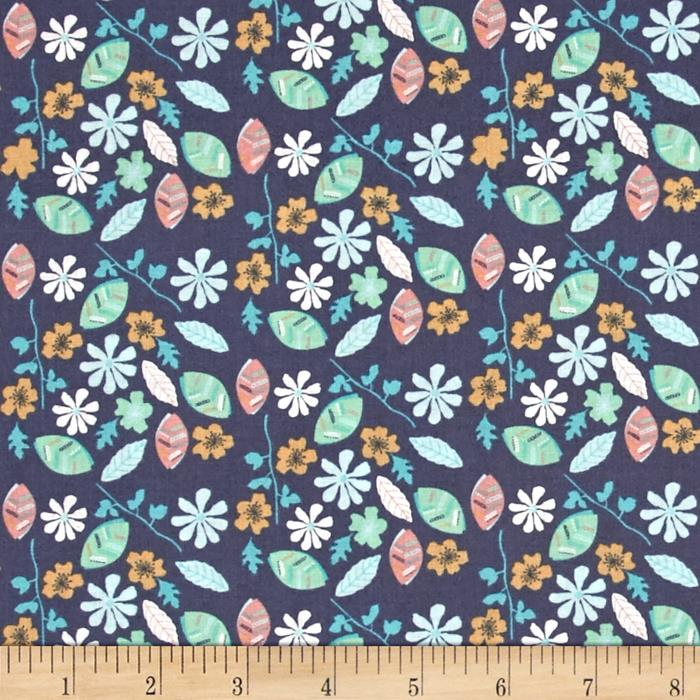 Fabric Freedom Woodland Floral Leaves & Flowers Blue