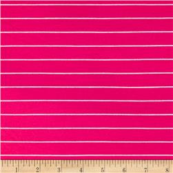 Yarn Dye Jersey Knit Mini Stripe White/Fuchsia