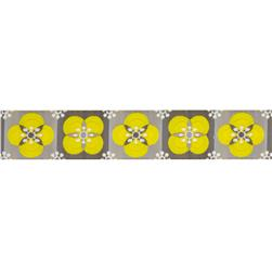 "7/8"" Laura Foster Nicholson Floral Tiles Woven Ribbon Yellow & Grey"