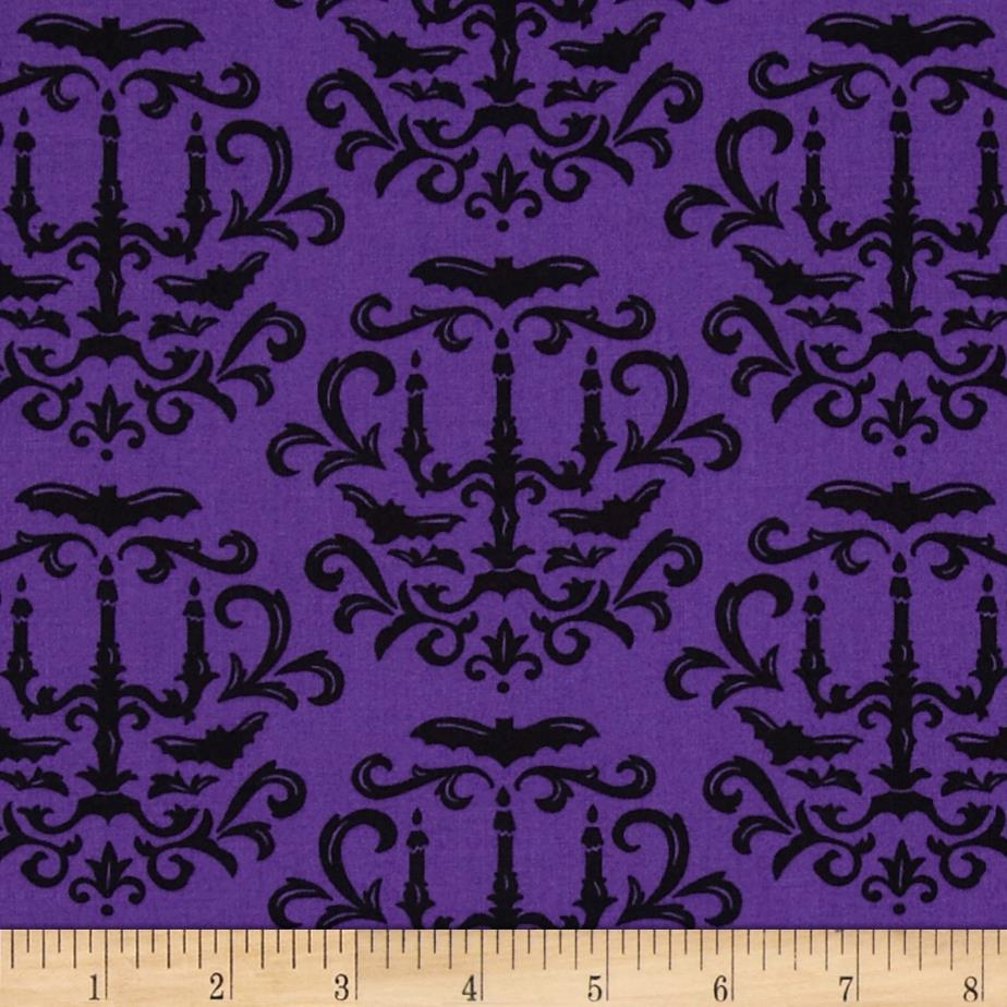 Moda Moonlight Manor Halloween Damask Potion Purple