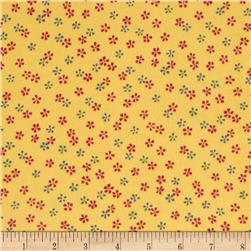Flannel Tossed Ditsy Floral Yellow Fabric