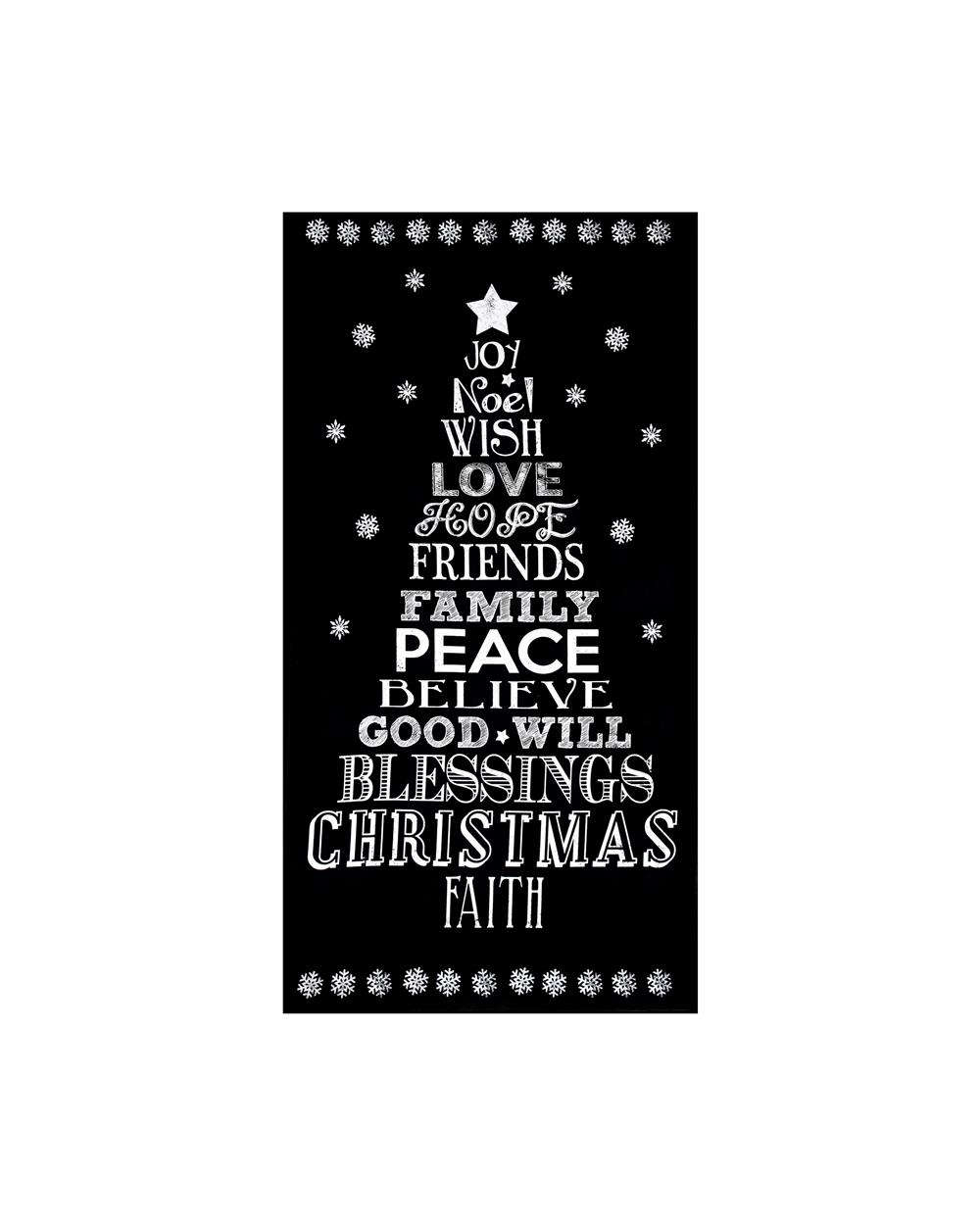 Timeless Treasures Glamourous Holiday 24'' Chalkboard Christmas Panel Black