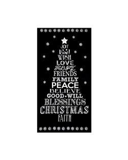 "Timeless Treasures Glamourous Holiday 24"" Chalkboard Christmas Panel Black"