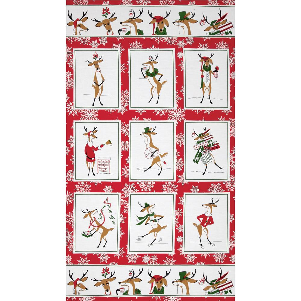 Where's Rudolph? 24'' Panel Red Fabric By The Yard