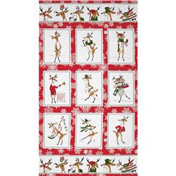 Where's Rudolph? 24'' Panel Red Fabric