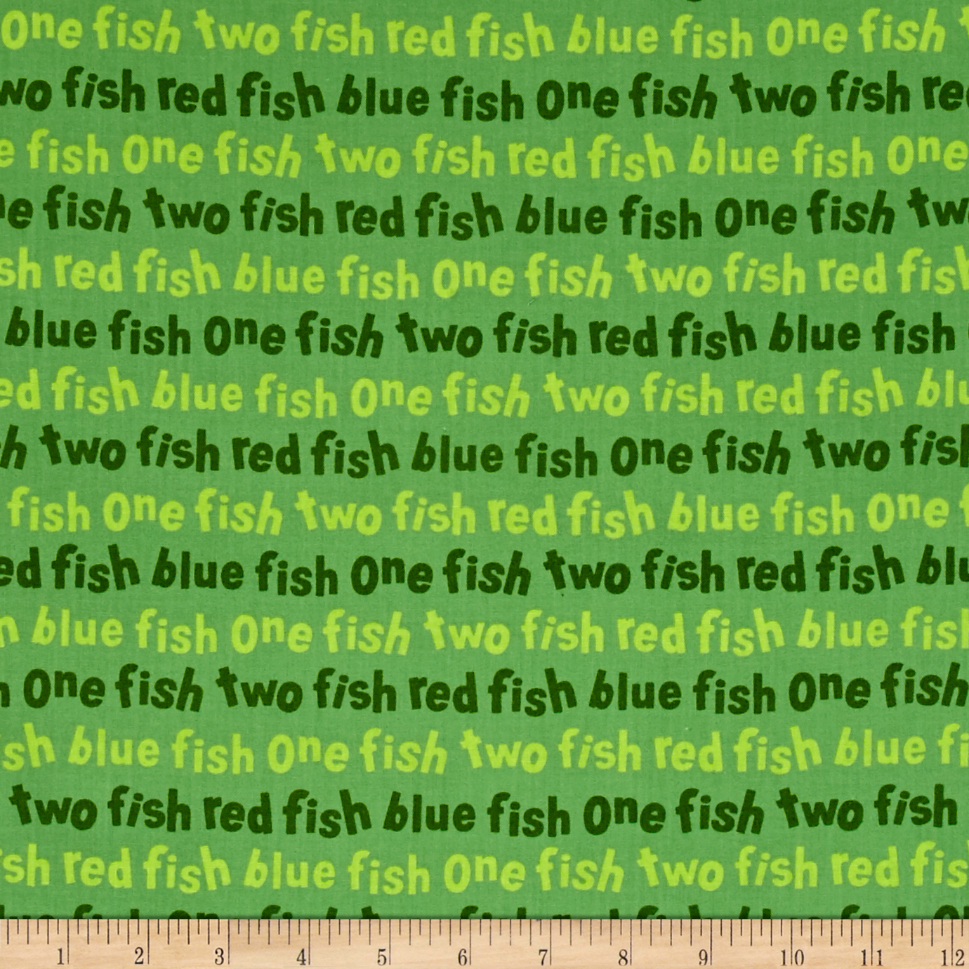 Dr. Seuss One Fish Two Fish Words Green Fabric