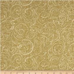 Charleston 108'' Wide Quilt Backing Swirly Vine Brown