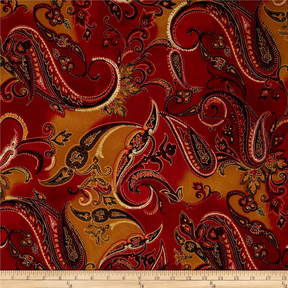 Marrakesh Large Paisley Red Discount Designer Fabric