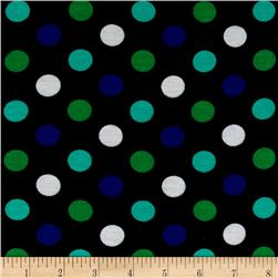 Soft Jersey Knit Polka Dots Green/Blue