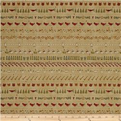Henry Glass 12 Days Of Christmas Bird Stripes Tan