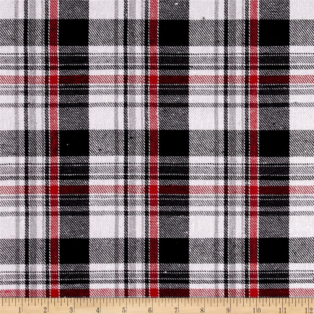 Yarn dyed flannel plaid black white red discount for Flannel fabric