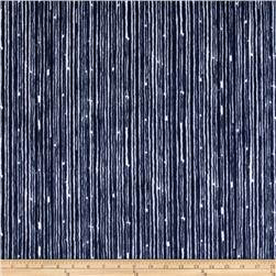Premier Prints Mockingbird Minky Cuddle Canvas Navy/Snow