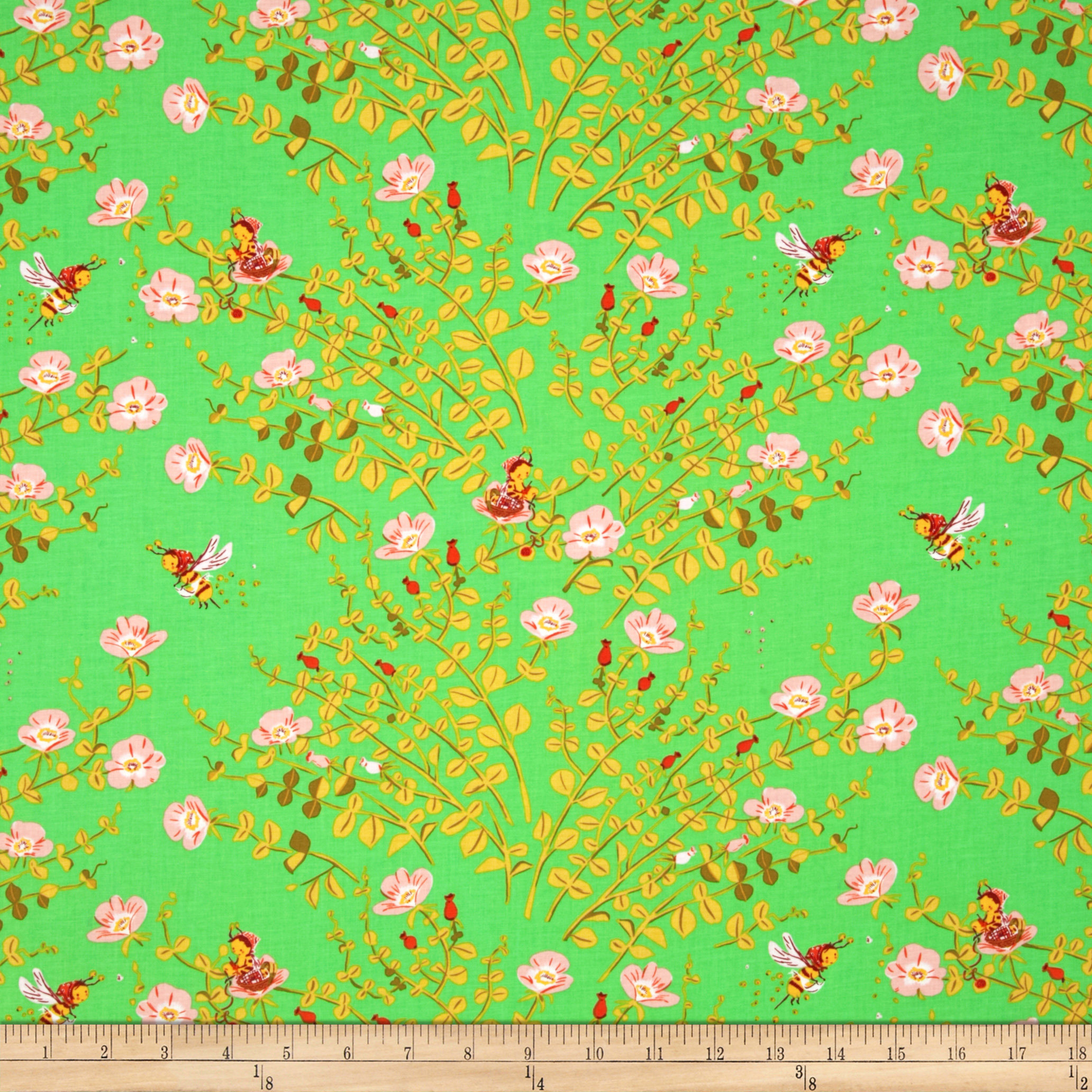 Heather Ross Briar Rose Nanny Bee Green/Pink Fabric