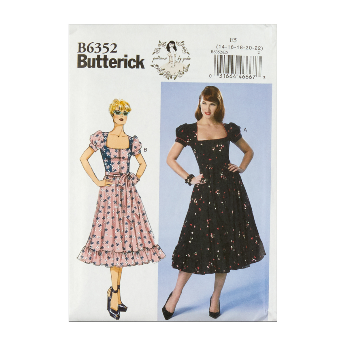 1950s Sewing Patterns | Dresses, Skirts, Tops, Mens Butterick B6352 Patterns by Gertie Petite Square-Neck Puff Sleeve Dresses E5 SZ 14-22 $11.97 AT vintagedancer.com