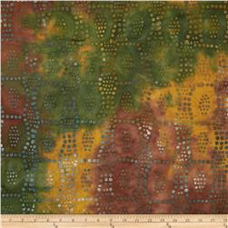 Indian Batiks Dot Block Orange/Green