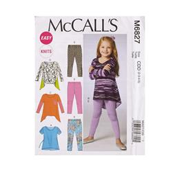 McCall's Children's/Girls' Tops and Leggings Pattern M6827 Size CDD