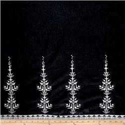 Embroidered Cotton Double Border Diamond Tree Black/White