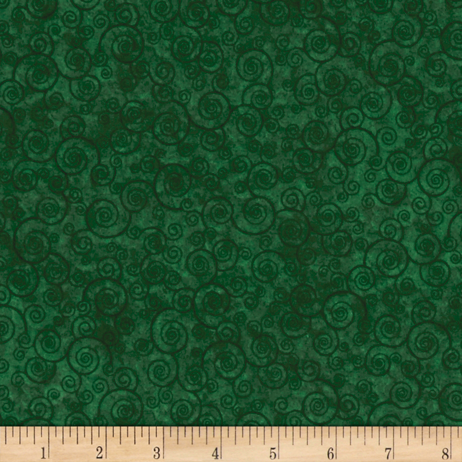 Harmony Flannel Curly Scroll Evergreen Fabric by Quilting Treasures in USA