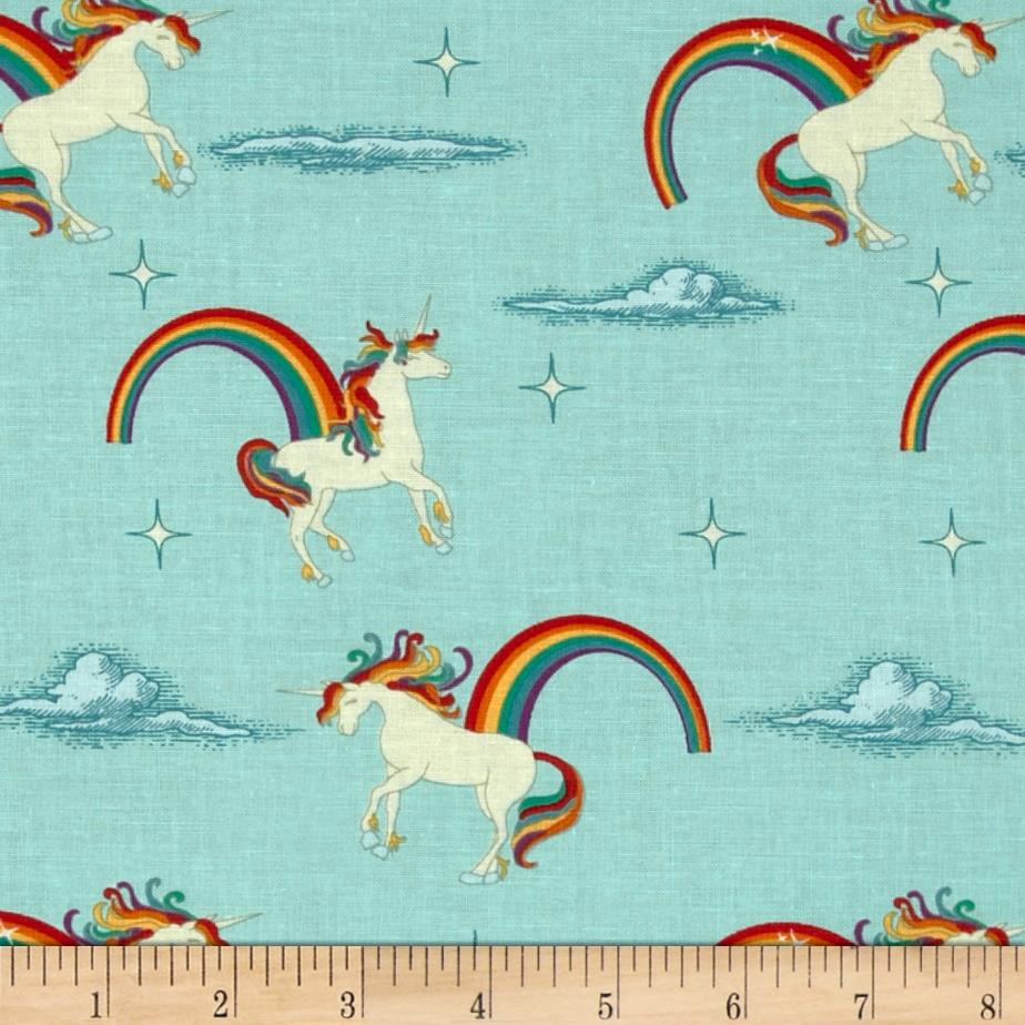 Riley Blake Unicorns & Rainbows Unicorn Aqua