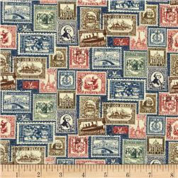 Vintage Travel Stamps Blue