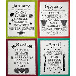 Lush Harvest January - April Calendar 24'' Panel Green
