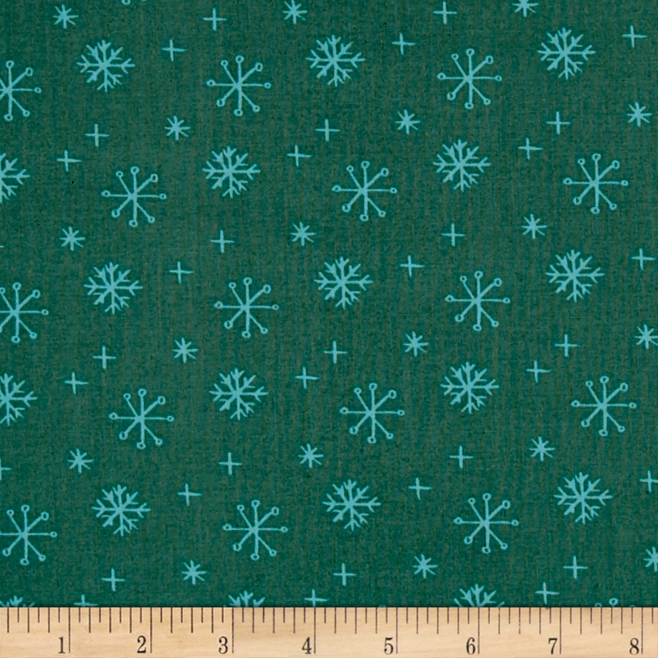 Image of 25 Days of Christmas Snowflakes Light Forest Fabric