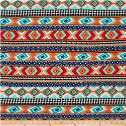 ITY Jersey Knit Aztec Orange/Blue/Beige