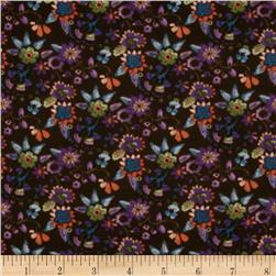 Metro Park Stretch Jersey Knit Floral Brown/Purple