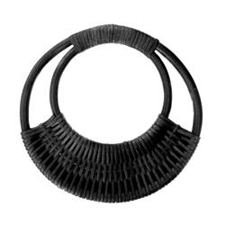 "Black Rattan Purse Handle 7-1/16"" Round - 2PKG"