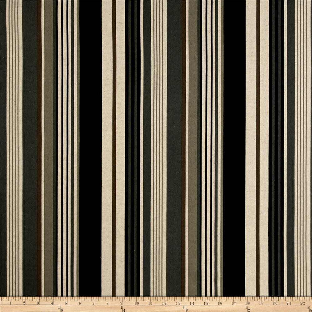 Kaufman Sevenberry Canvas Cotton Flax Prints Stripe Black